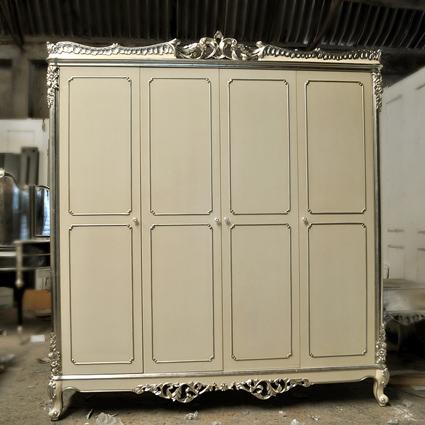 华莎驰欧式实木新古典家具奢华法式银箔雕刻别墅定制大衣柜