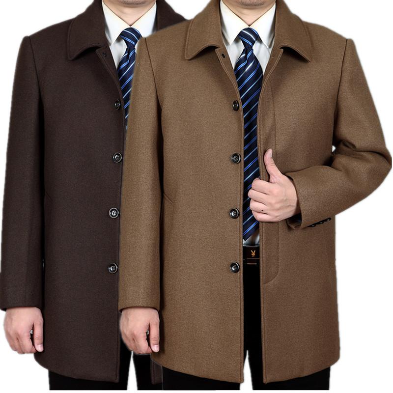 秋冬男土羊毛呢大衣爸爸装中长款加绒加厚呢子大码风衣中老年外套
