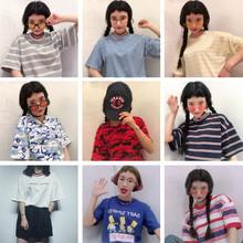 圆领条纹宽松T恤女印花韩国原宿风可爱卡通学生短袖 上衣 夏季新款