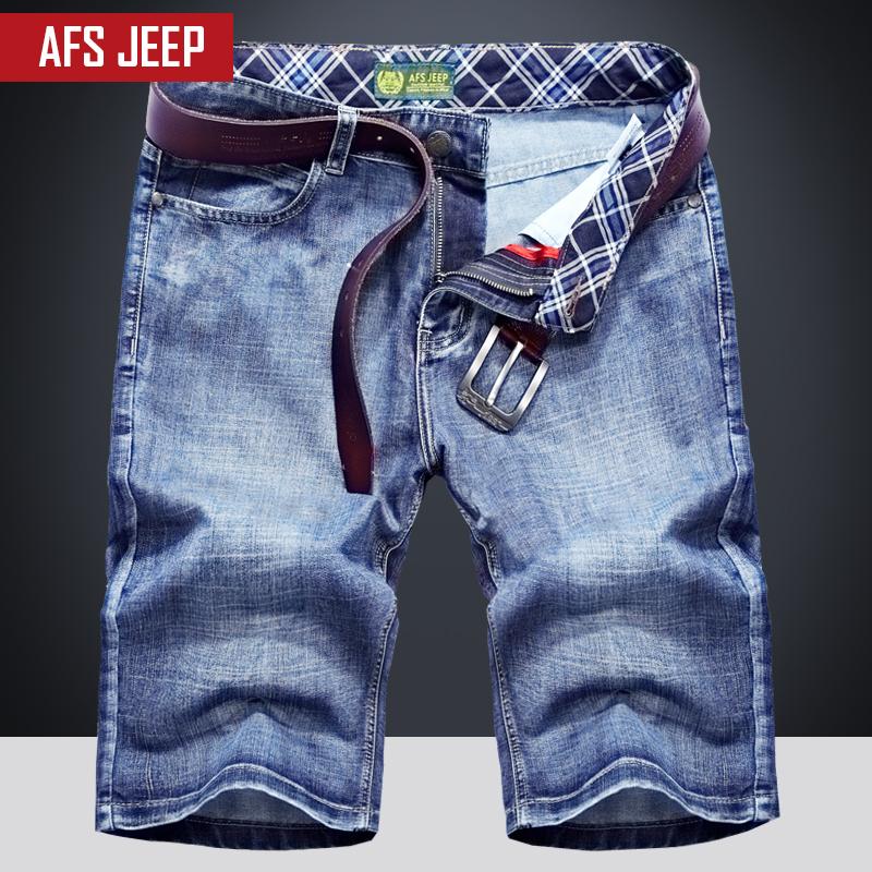 五分牛仔褲青年戰地簡約夏天休閑吉普褲大碼修身夏季半截短褲