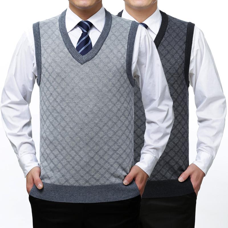春季经典中老年男士背心马甲v领毛衣针织衫羊毛衫父亲爸爸装