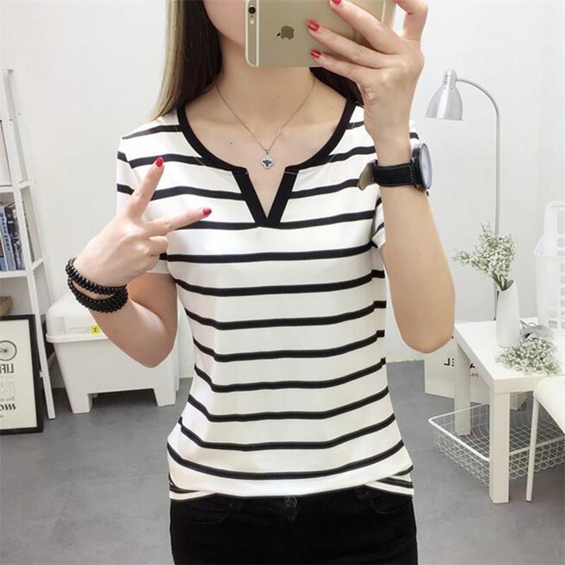 2017韩版夏装新款女装条纹显瘦半袖上衣服女士修身短袖T恤打底衫