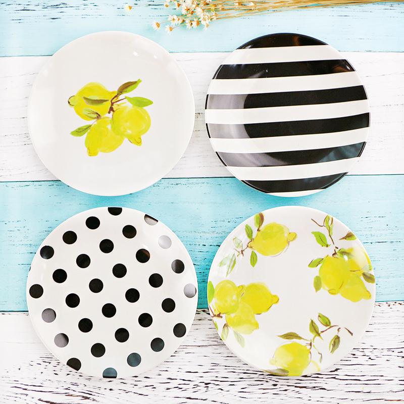 柏焰耐摔6寸密胺餐具简约黑白圆碟柠檬儿童实用点心蛋糕碟吐骨盘