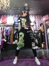 2016夏秋新款时尚印花短袖T恤大档哈伦裤休闲运动两件套装女款潮