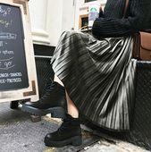 2016秋冬韩版新款女装高腰A字裙丝绒裙半身裙百褶裙长裙裙子