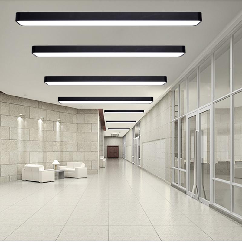 安田LED吸顶灯具黑色铝材办公室铝材灯长方形餐厅灯书房灯照明灯