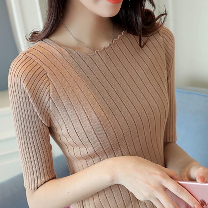 短袖一字领紧身衫女短款套头针织五分毛衣半袖打底