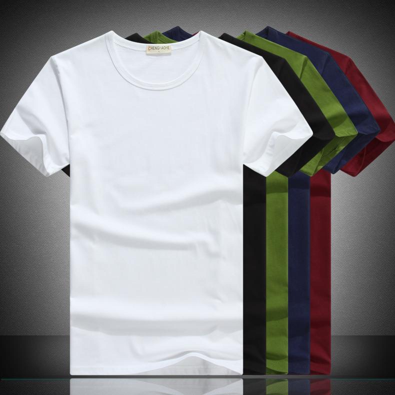 纯白短袖男士T恤纯棉夏季圆领打底衫 空白纯色纯黑手绘韩版修身