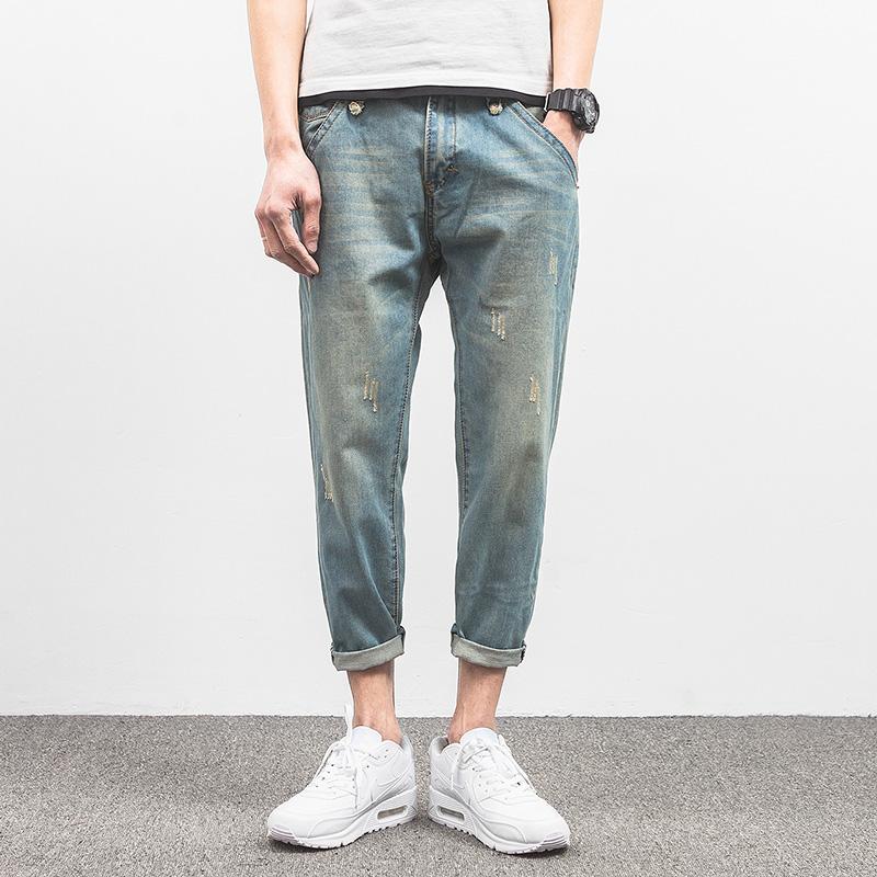 超级时尚百搭的男士夏季牛仔裤新款