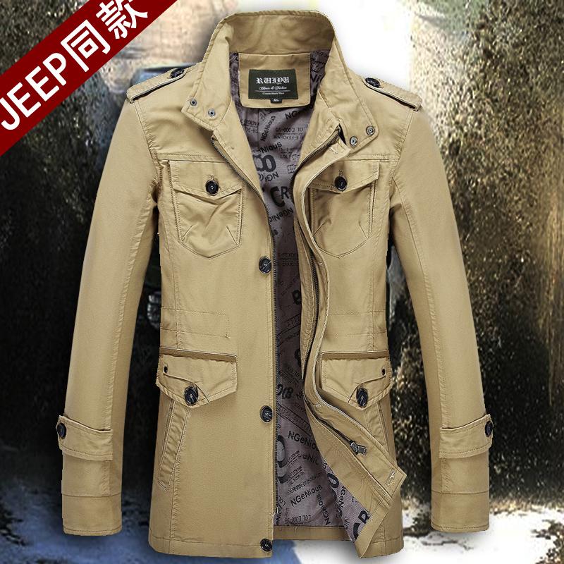 天天特价秋季男士中长款风衣加肥加大码商务夹克军工外套中年男装