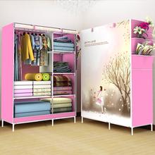 简易布艺衣柜钢管加粗加固 简约现代折叠衣橱宿舍组装收纳经济型