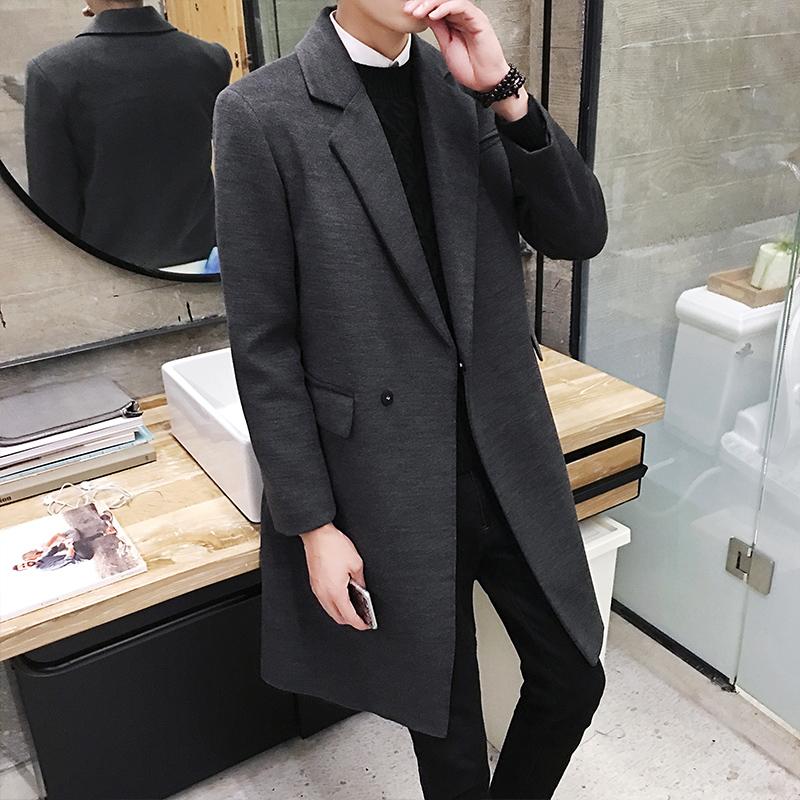 风衣男中长款潮流秋冬季男士大衣韩版修身外套青年呢