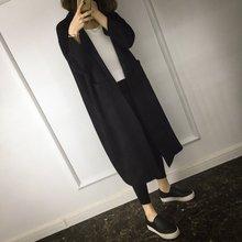 春秋女BF超中长款廓形茧型过膝风衣外套韩版宽松大码显瘦黑色大衣