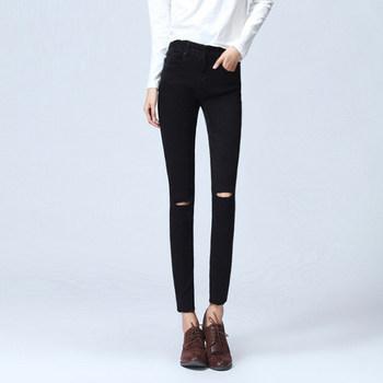 夏秋娱乐网站白菜网站大全高腰黑色膝盖破洞牛仔裤