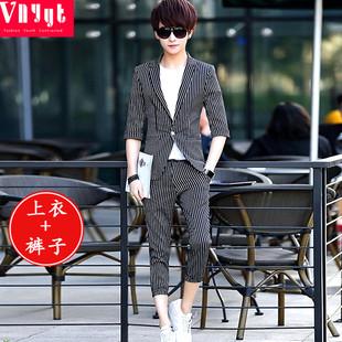 男士韩版西服套装男青年春夏季休闲七分袖西服薄款条纹中袖小西装