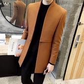春秋季新款韩版中长款风衣男士休闲纯色大衣英伦商务修身呢子外套