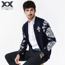 春装男式针织衫巴洛克风格纯棉毛衣男开衫外套韩版立领修身夹克潮