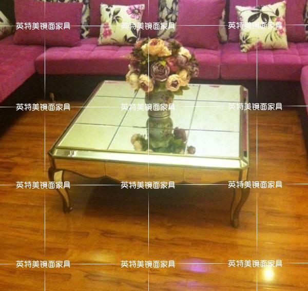 桌子办公茶几茶几正方形的客厅长方形玻璃小茶几镜面茶几镜面家具