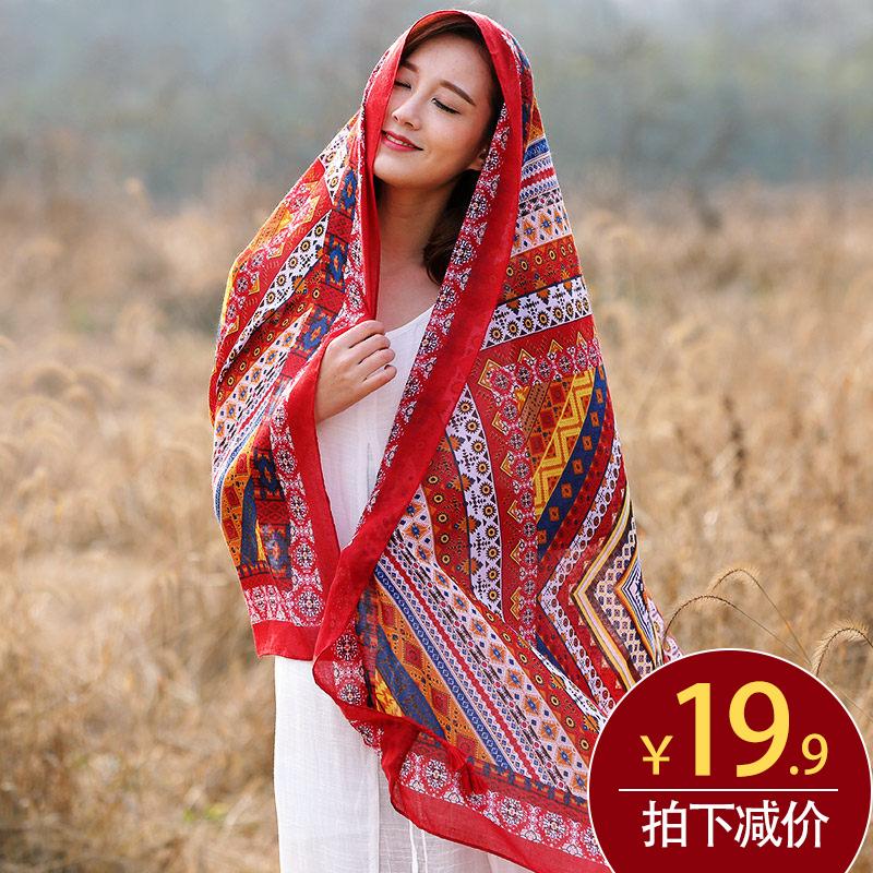 围巾丝巾纱巾两用海边披肩防晒女士民族沙滩超大