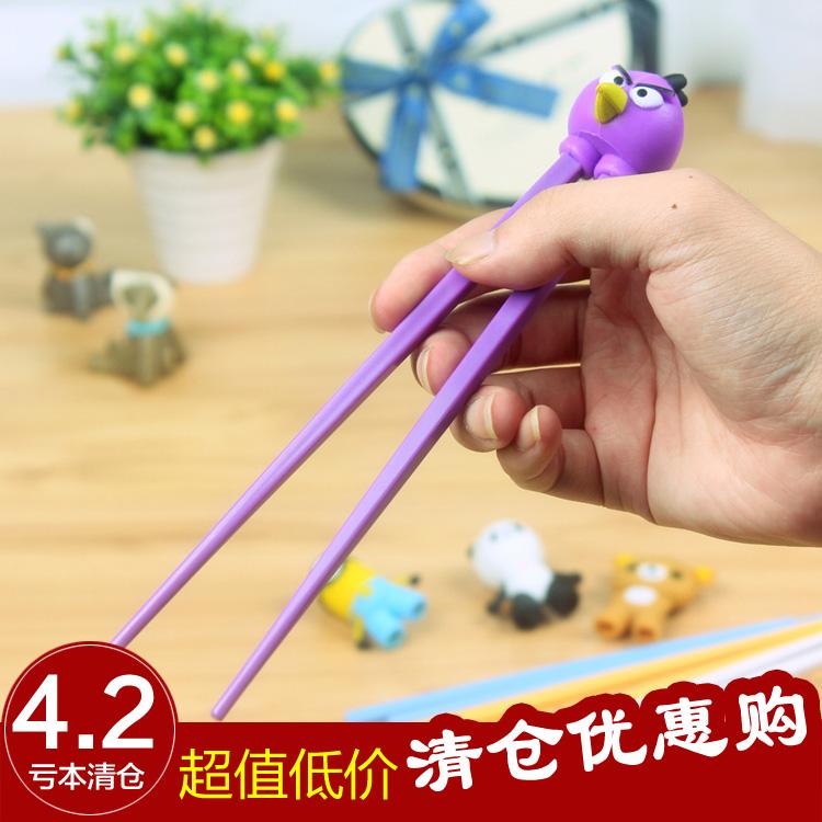 硅胶儿童学习筷子 韩国进口卡通餐具儿童筷绿色健康密胺多款特价