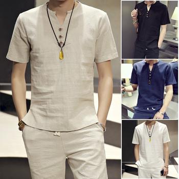 夏季套装中国风大码复古棉麻短袖