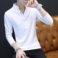 春秋装新款青年男士长袖t恤V领加厚韩版修身体恤百搭打底衫上衣潮