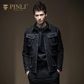 商场同款PINLI品立 2017春季新款男装棉质牛仔夹克外套S171104062