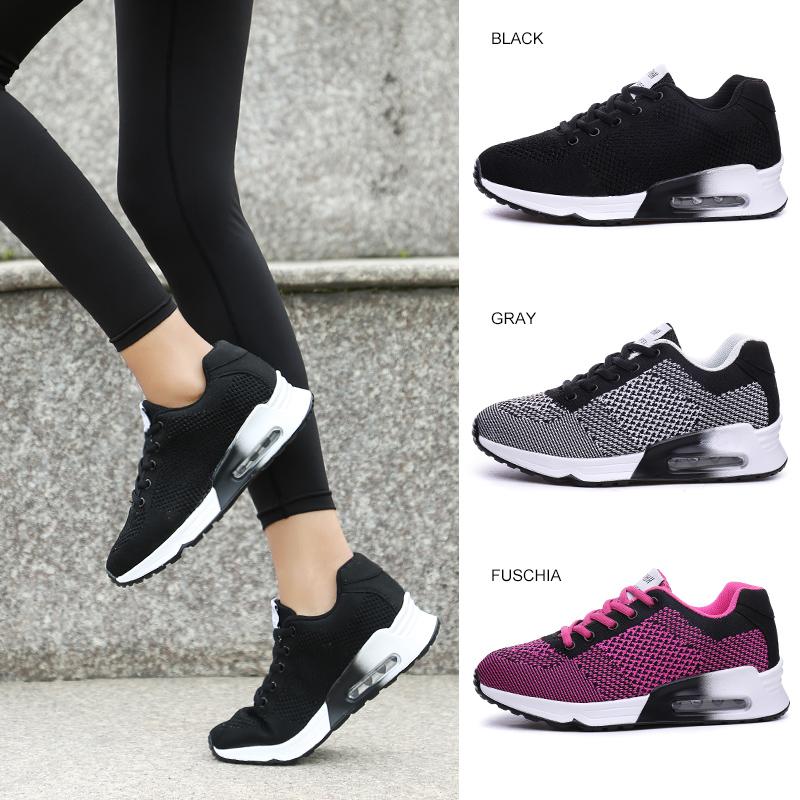 夏季休闲鞋透气跑步轻便学生运动鞋气垫春款潮黑色
