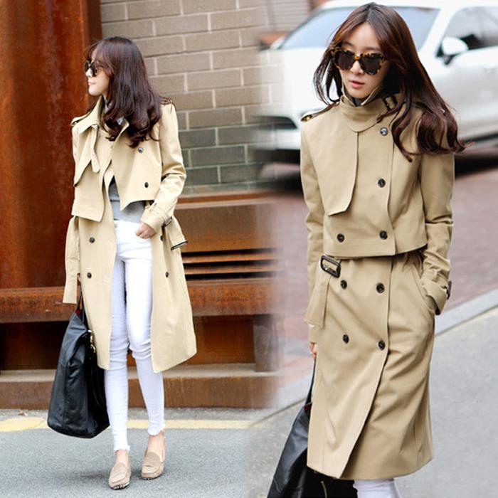 中长款风衣女士2016韩版春秋款两件套双排扣英伦休闲时尚过膝外套 - 秋款风衣女