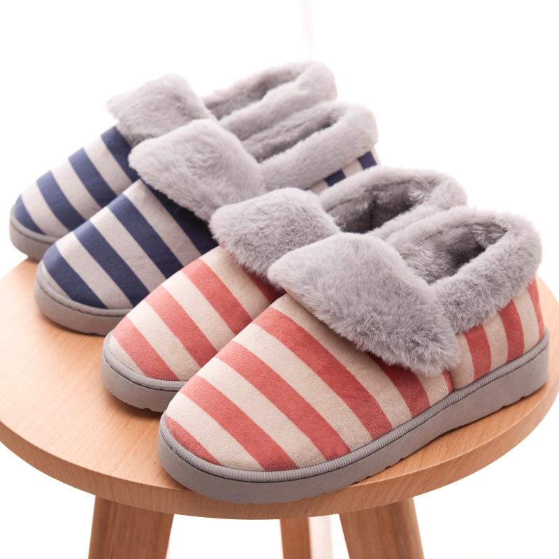 冬季家居室内厚底男女条纹保暖棉拖鞋包跟居家日式厚底防滑棉拖鞋