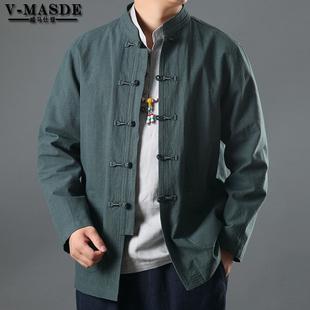 唐装中国风男装亚麻外套男民族服装中年中式休闲长袖外套中山装