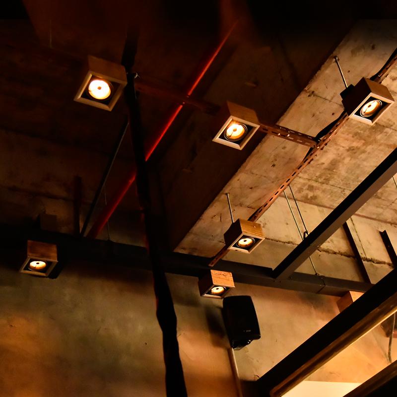 漫咖啡老榆木盒子led筒灯射灯 酒吧网咖复古个性木头装饰天花顶灯