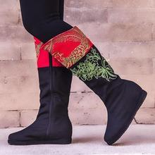 【清仓】汉舞民族风中筒女靴时尚绣花靴子千层底布鞋女单靴女素雅图片