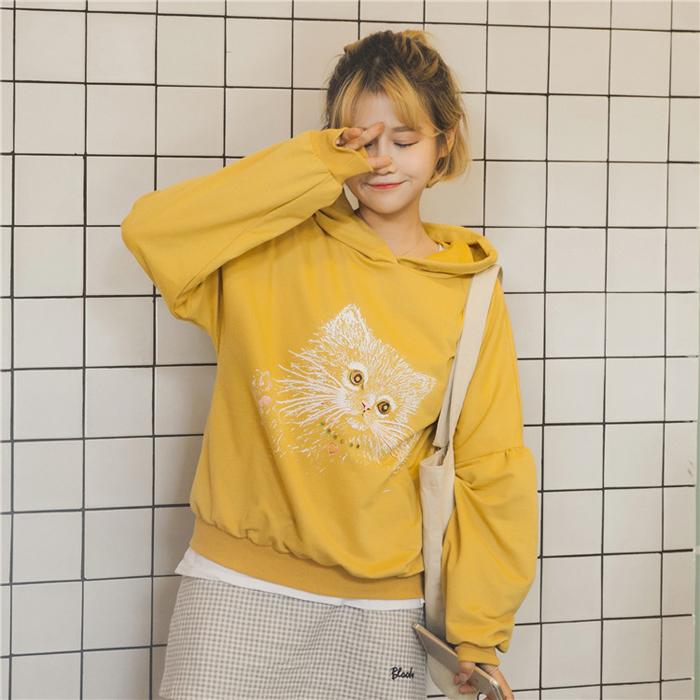 秋装女装韩版软妹可爱猫咪宽松长袖套头连帽卫衣薄款