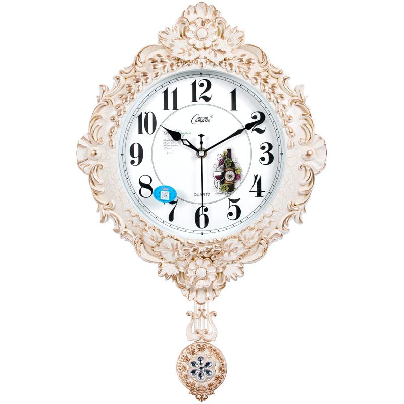 康巴丝正品钟表摇摆挂钟欧式石英钟挂表客厅餐厅静音时钟表摆钟