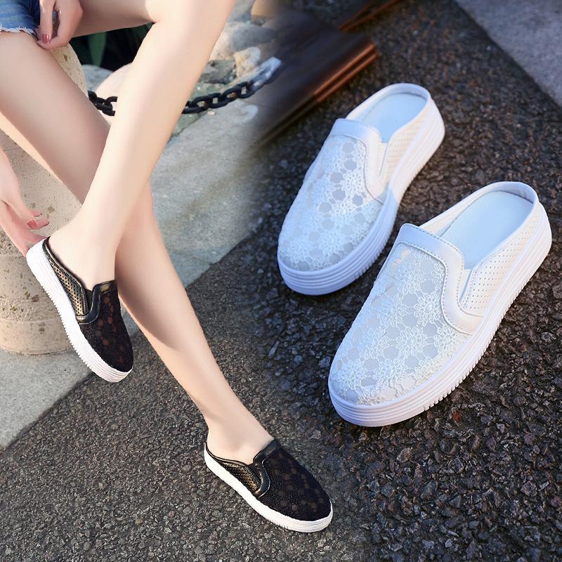 孕妇小白鞋韩版外穿无拖鞋后跟包头懒人时尚