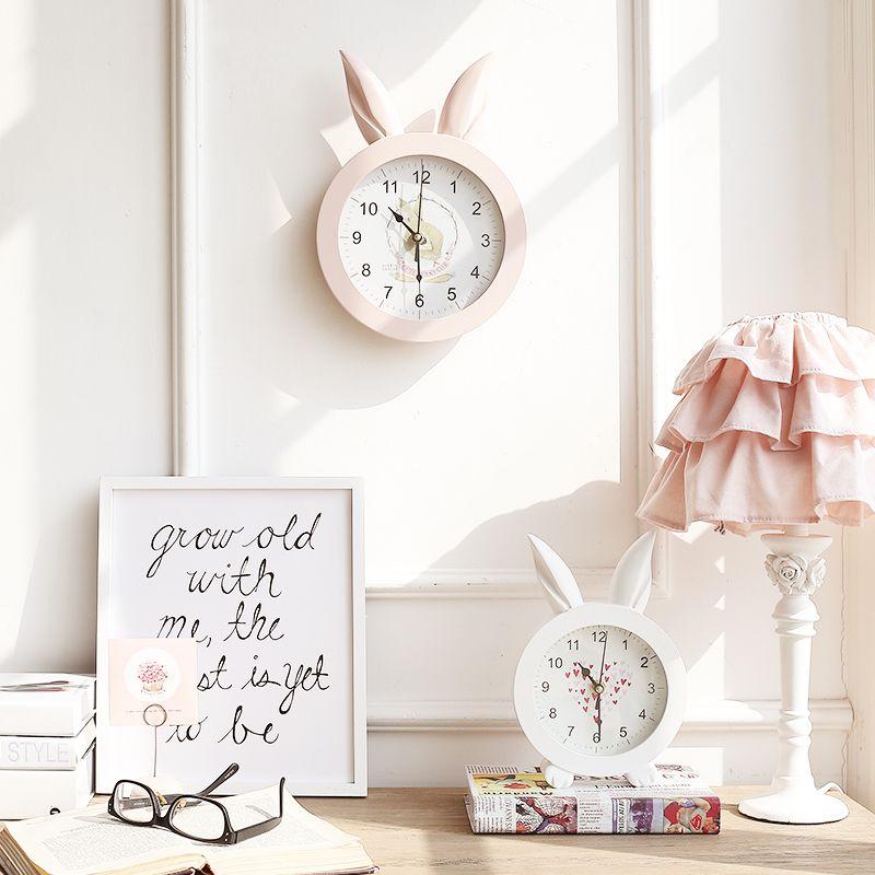 米子家居 欧式创意座钟桌面摆件摆设卧室挂钟 安娜侧耳倾听时钟