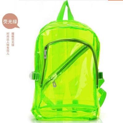 原宿塑料糖果色透明包包荧光包果冻男女学生书包透明双肩包背包