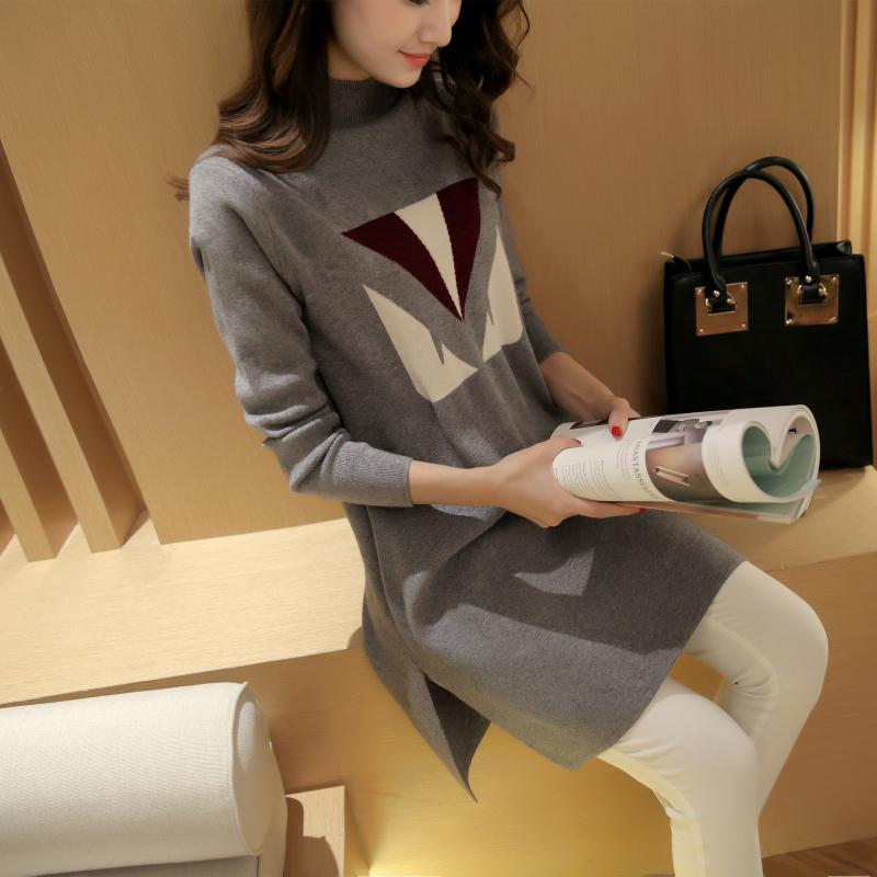 2015新款秋装时尚高领打底衫长款宽松可爱撞色毛衣