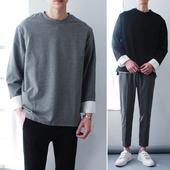 原创春季文艺青少年假两件T恤衫韩国男士宽松百搭长袖体恤 潮上衣
