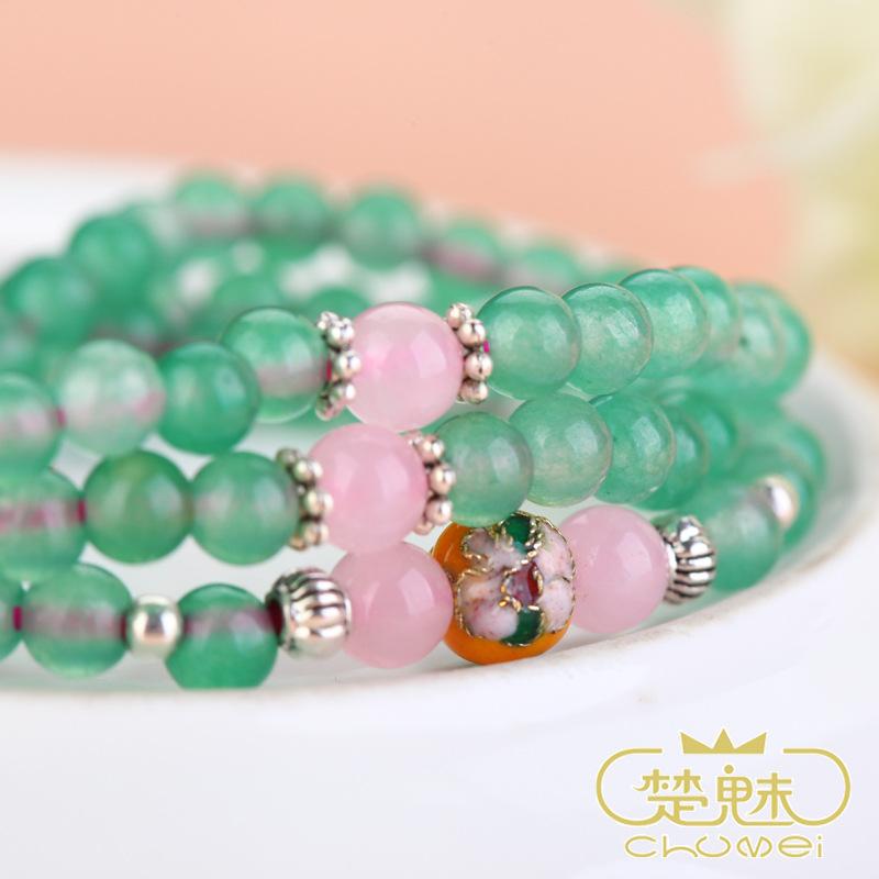 楚魅珠宝水晶首饰手链 天然绿玉石佛珠手串 时尚女士饰品厂家直销