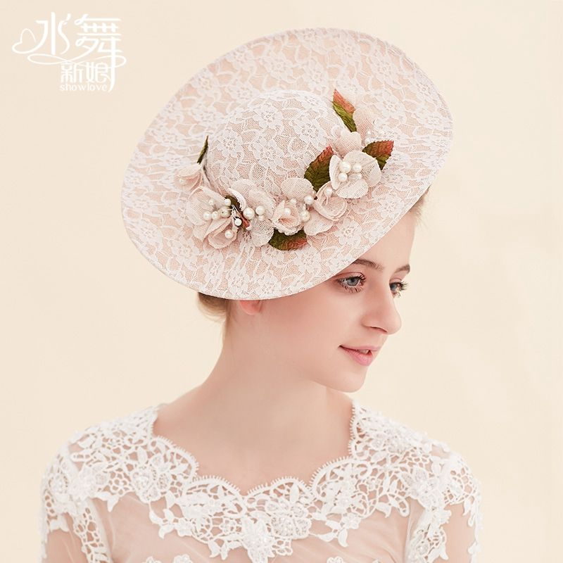水舞新娘 手工蕾丝花朵礼帽影楼写真网帽发饰婚纱礼服配饰 B1009