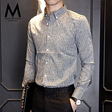 默认秋季男士衬衫长袖条纹青年韩版修身商务休闲易搭免烫衬衣