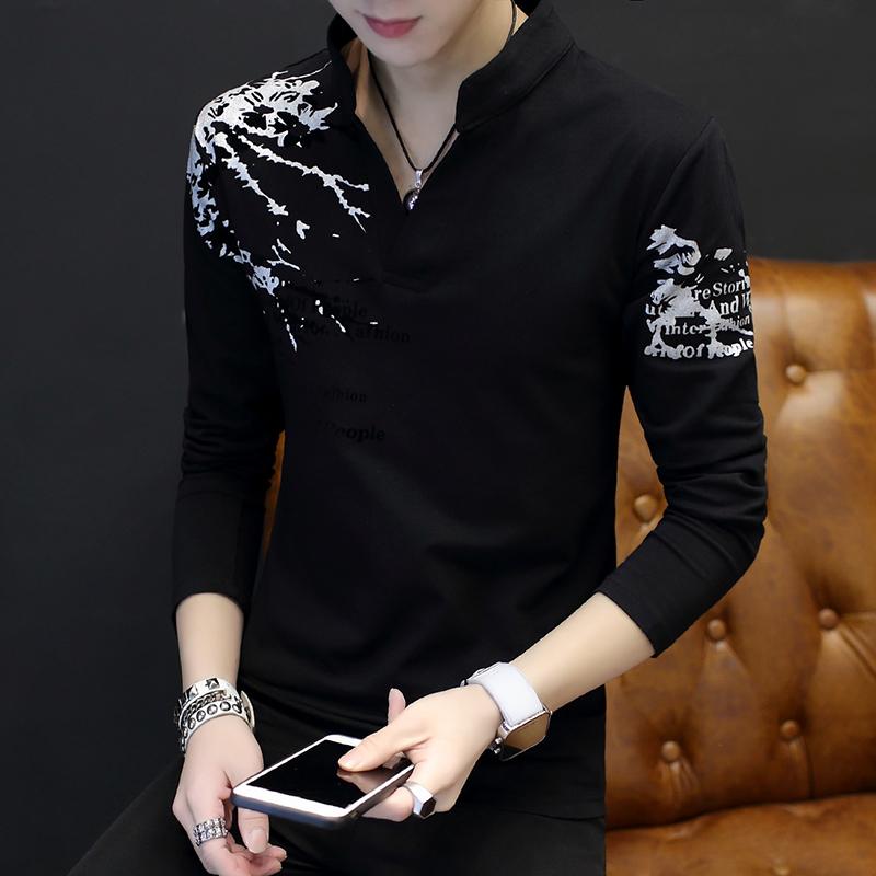 长袖T恤男青少年韩版修身V领印花打底衫学生上衣服男体恤大码男装