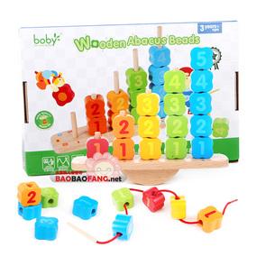 包邮 波比启智木质木制玩具 早教益智堆堆乐 大粒串珠 1-3岁