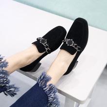 女鞋2019春季新款方头平底鞋中跟金属扣百搭乐福鞋春款粗跟单鞋女图片