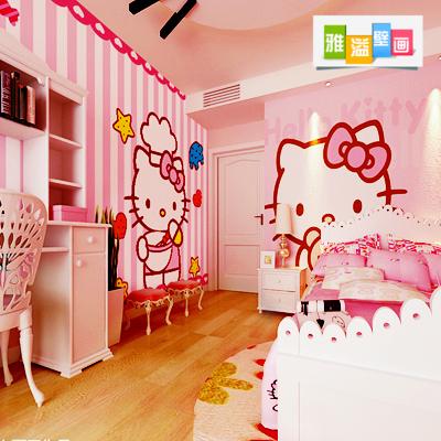 儿童房幼儿墙纸 女孩卧室床头背景墙壁纸hellokitty