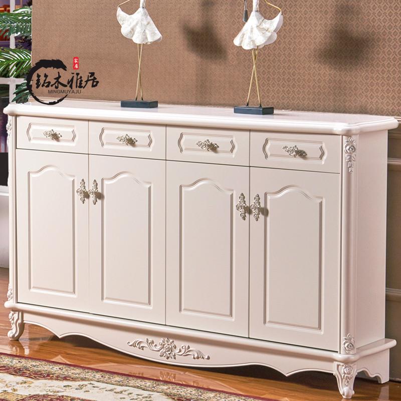 欧式鞋柜法式雕花描银宜家对开门大容量餐边柜玄关烤漆象牙白欧式