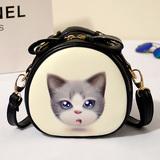 猫猫印花斜挎小圆包