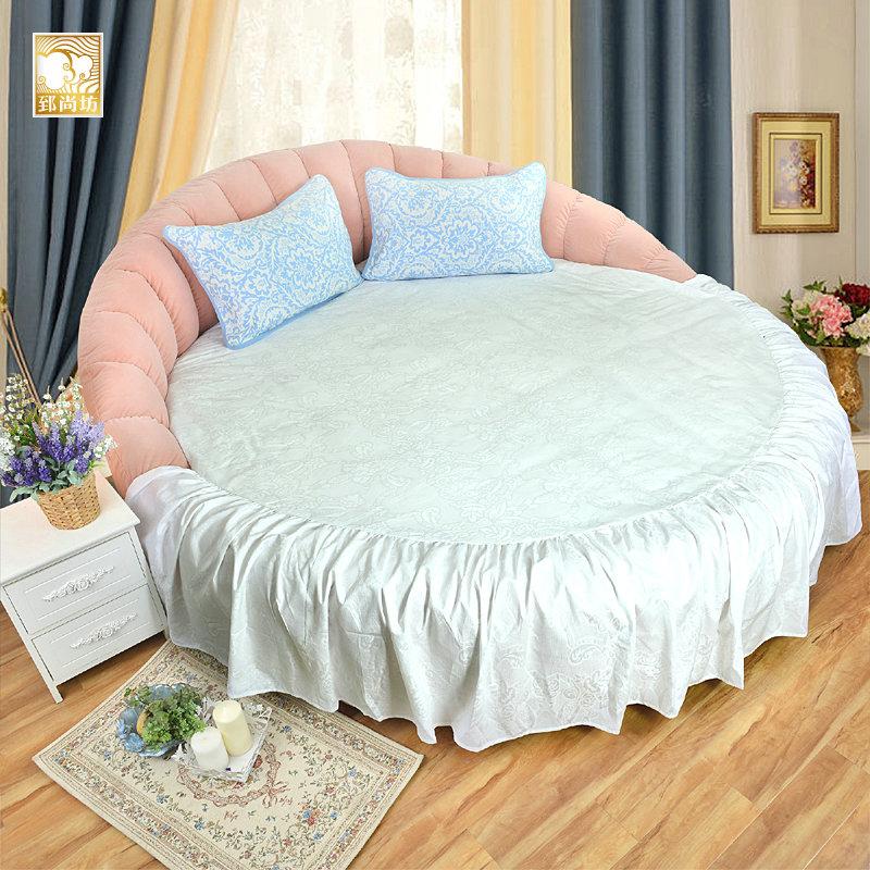 郅尚坊纯棉提花圆床床单全棉圆床罩欧式纯白圆床品圆